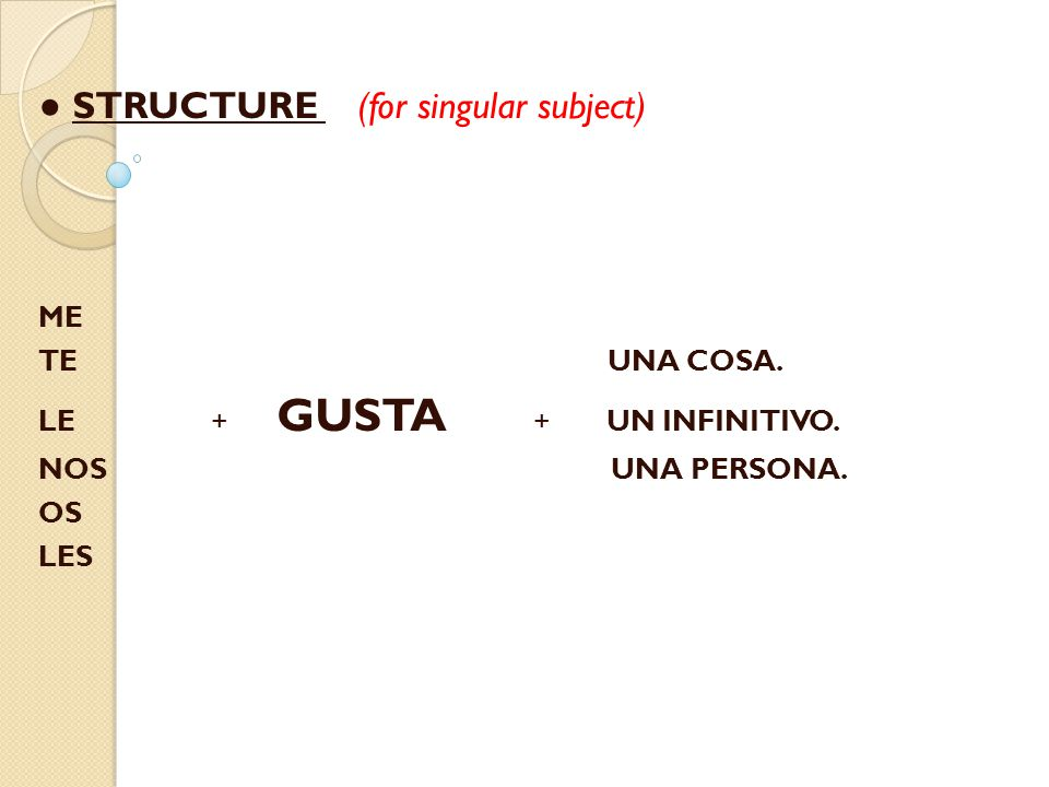 ● STRUCTURE (for singular subject) ME TE UNA COSA.