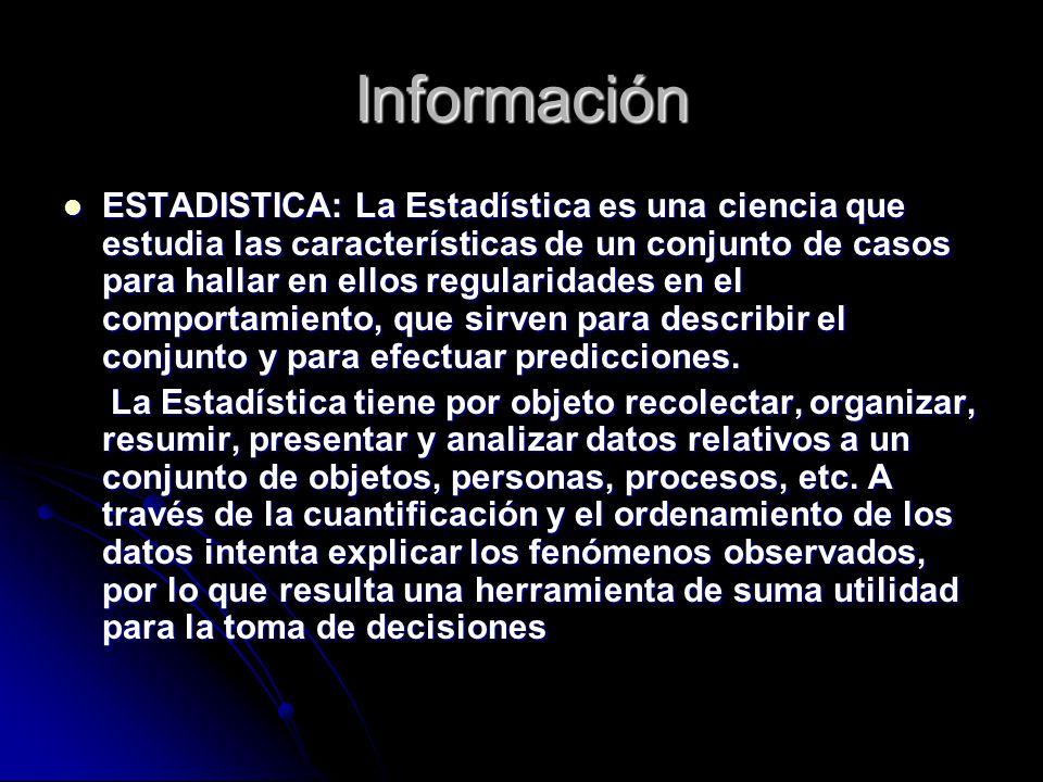Información ESTADISTICA: La Estadística es una ciencia que estudia las características de un conjunto de casos para hallar en ellos regularidades en e
