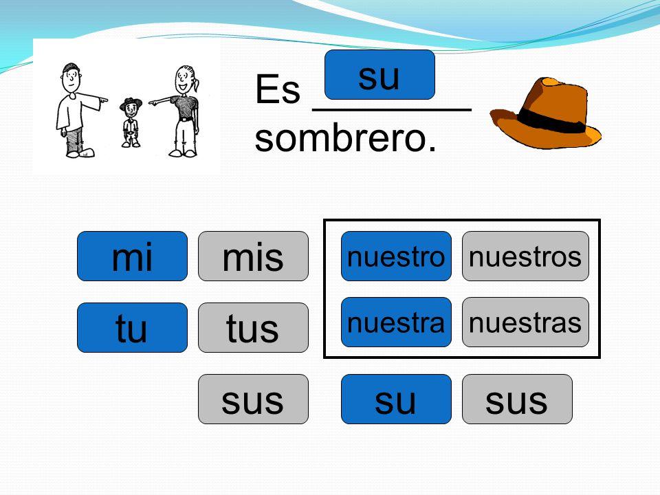 mi tu su nuestro su nuestra Es _______ sombrero. mis tus sus nuestros sus nuestras