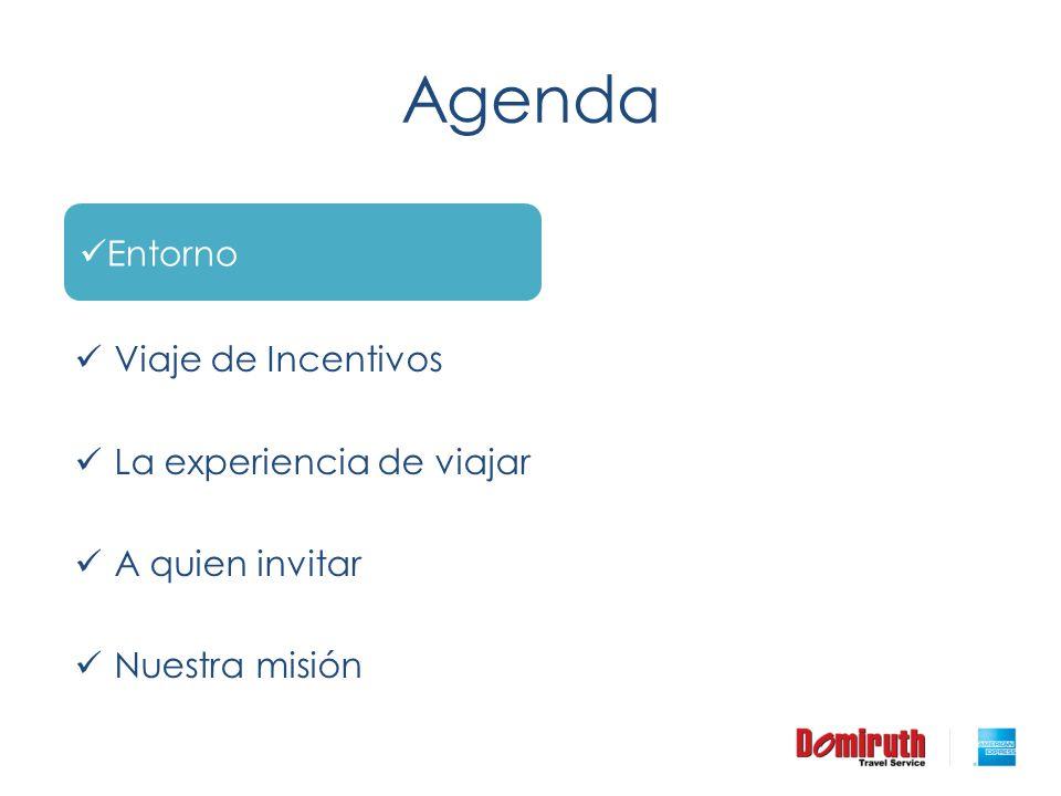 Agenda Antecedentes Viaje de Incentivos La experiencia de viajar A quien invitar Nuestra misión Entorno