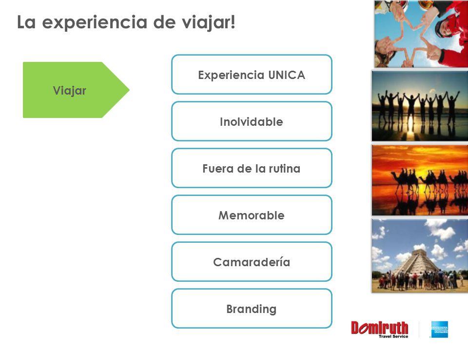 La experiencia de viajar! Experiencia UNICA Inolvidable Fuera de la rutina Memorable Camaradería Viajar Branding