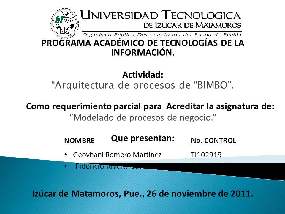 """PROGRAMA ACADÉMICO DE TECNOLOGÍAS DE LA INFORMACIÓN. Actividad: """"Arquitectura de procesos de """"BIMBO"""". Como requerimiento parcial para Acreditar la asi"""