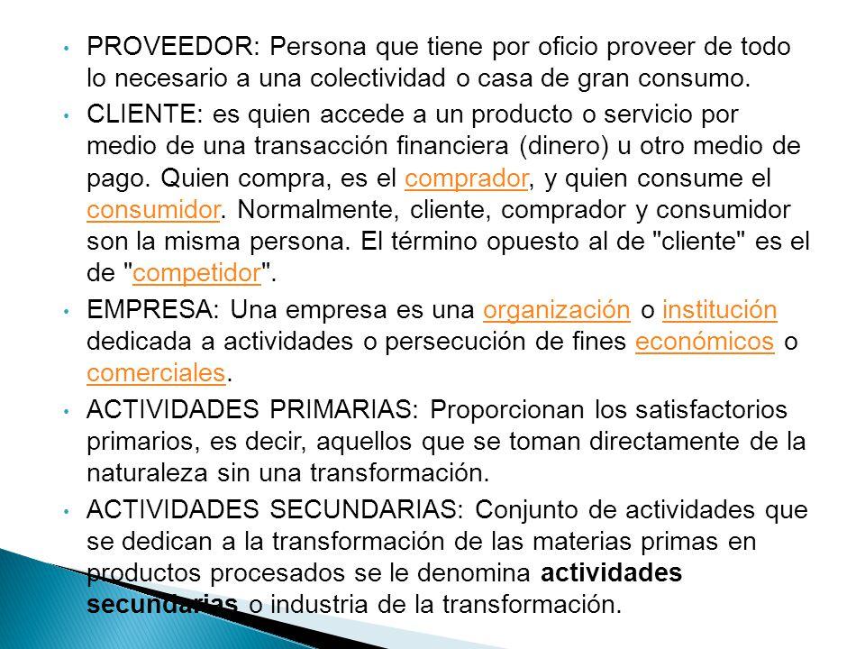 PROVEEDOR: Persona que tiene por oficio proveer de todo lo necesario a una colectividad o casa de gran consumo. CLIENTE: es quien accede a un producto