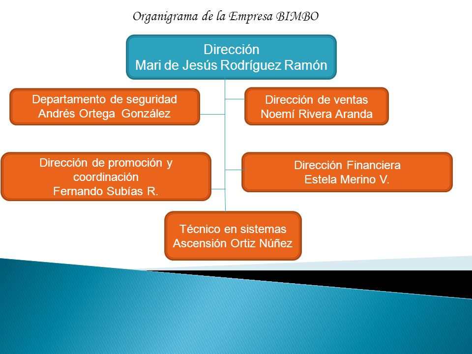 Dirección Mari de Jesús Rodríguez Ramón Dirección de ventas Noemí Rivera Aranda Técnico en sistemas Ascensión Ortiz Núñez Organigrama de la Empresa BI