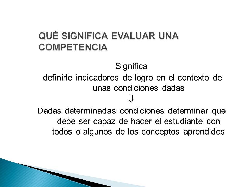 Significa definirle indicadores de logro en el contexto de unas condiciones dadas  Dadas determinadas condiciones determinar que debe ser capaz de hacer el estudiante con todos o algunos de los conceptos aprendidos