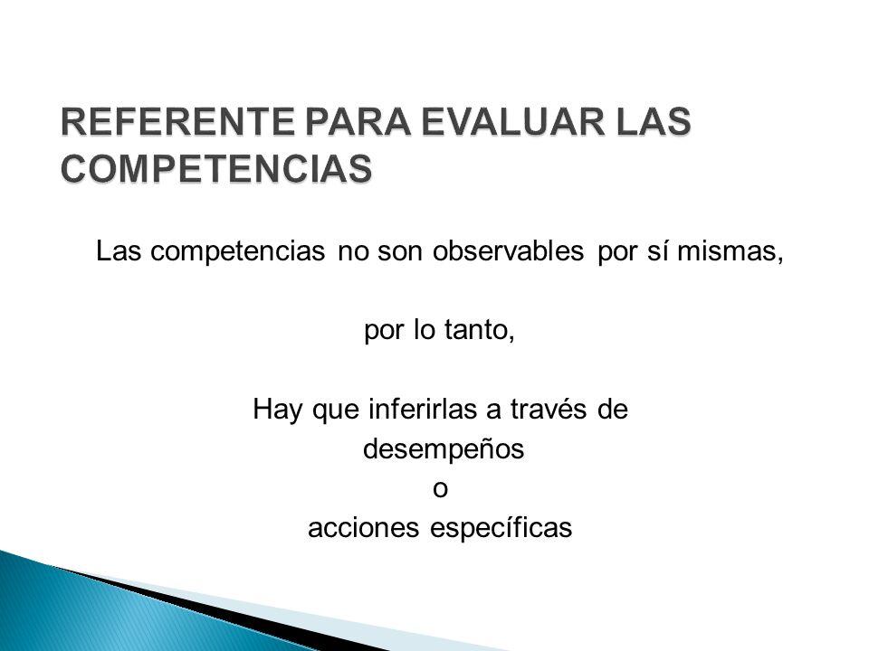 Las competencias no son observables por sí mismas, por lo tanto, Hay que inferirlas a través de desempeños o acciones específicas