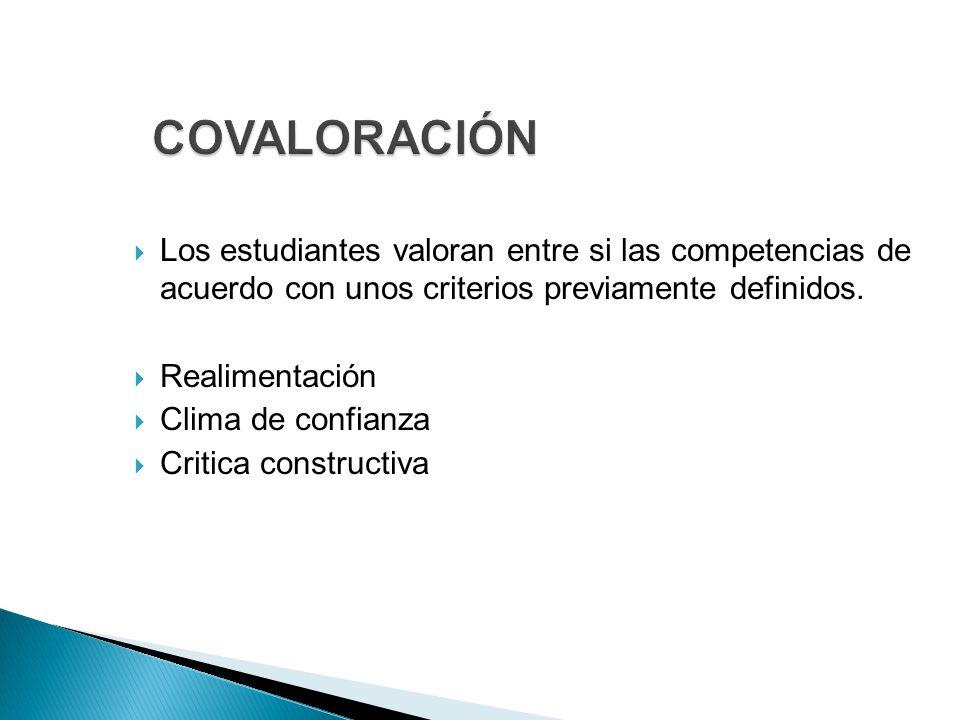  Los estudiantes valoran entre si las competencias de acuerdo con unos criterios previamente definidos.