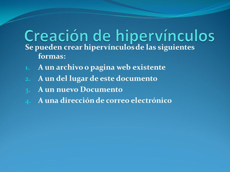 Se pueden crear hipervínculos de las siguientes formas: 1. A un archivo o pagina web existente 2. A un del lugar de este documento 3. A un nuevo Docum
