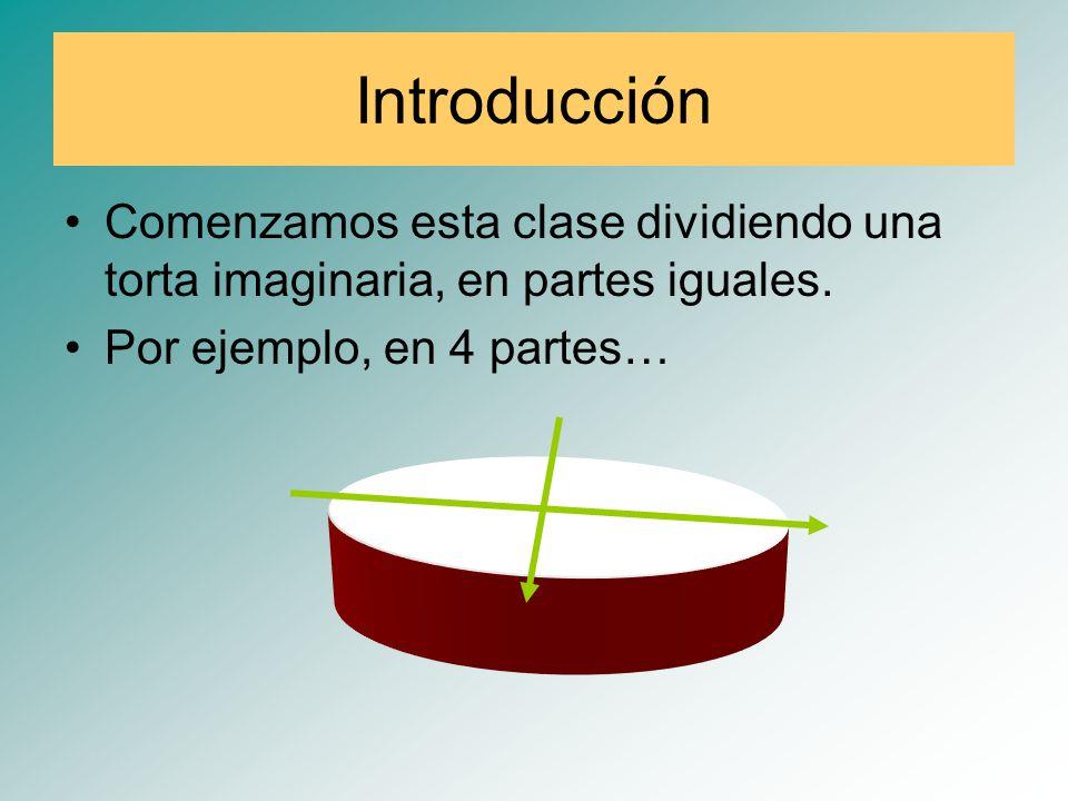 Introducción Comenzamos esta clase dividiendo una torta imaginaria, en partes iguales. Por ejemplo, en 4 partes…