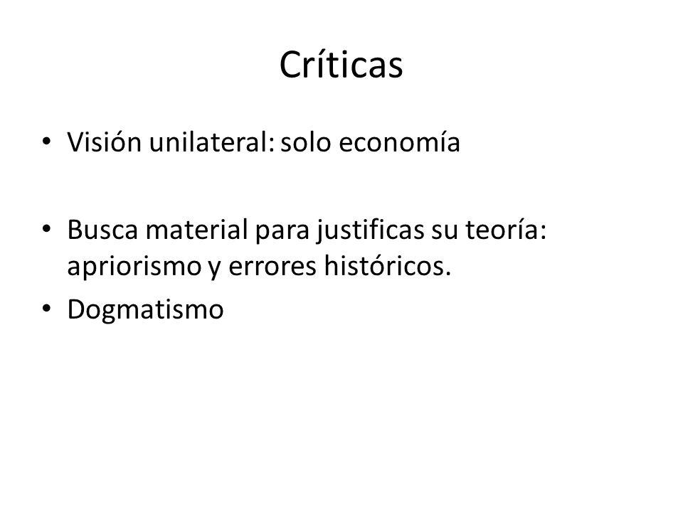 Críticas Visión unilateral: solo economía Busca material para justificas su teoría: apriorismo y errores históricos.