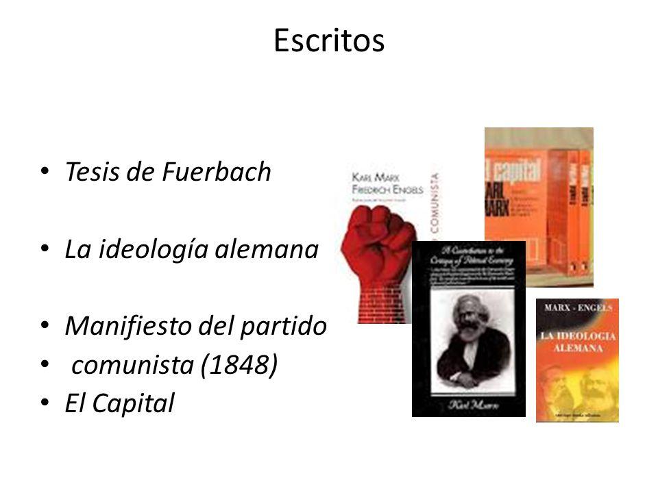 Escritos Tesis de Fuerbach La ideología alemana Manifiesto del partido comunista (1848) El Capital