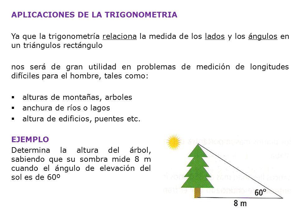 APLICACIONES DE LA TRIGONOMETRIA Ya que la trigonometría relaciona la medida de los lados y los ángulos en un triángulos rectángulo nos será de gran utilidad en problemas de medición de longitudes difíciles para el hombre, tales como:  alturas de montañas, arboles  anchura de ríos o lagos  altura de edificios, puentes etc.