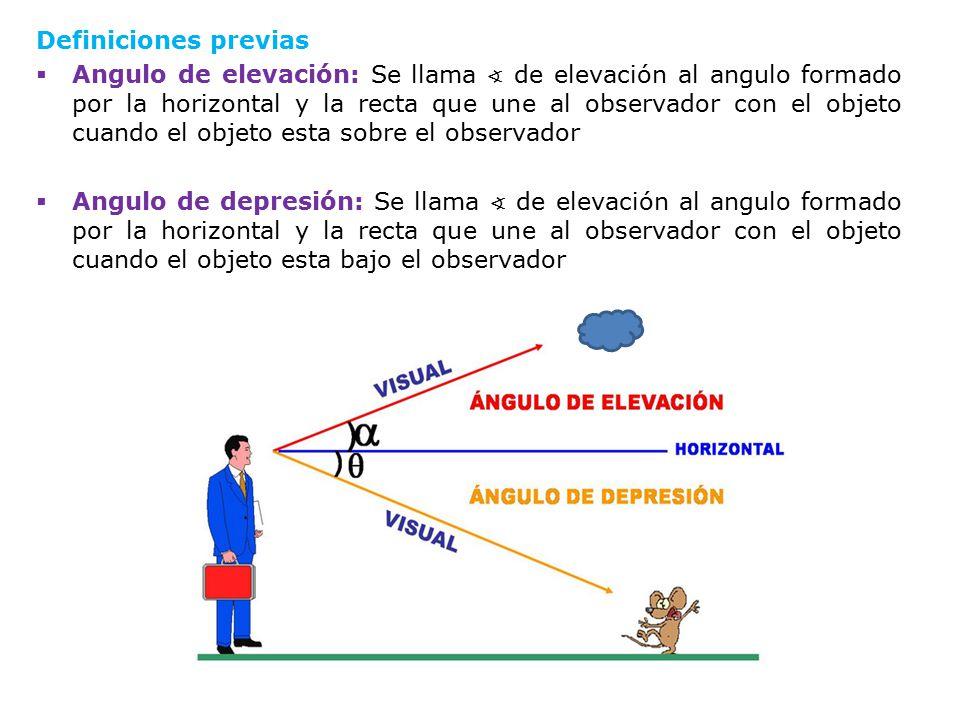 Definiciones previas  Angulo de elevación: Se llama ∢ de elevación al angulo formado por la horizontal y la recta que une al observador con el objeto cuando el objeto esta sobre el observador  Angulo de depresión: Se llama ∢ de elevación al angulo formado por la horizontal y la recta que une al observador con el objeto cuando el objeto esta bajo el observador