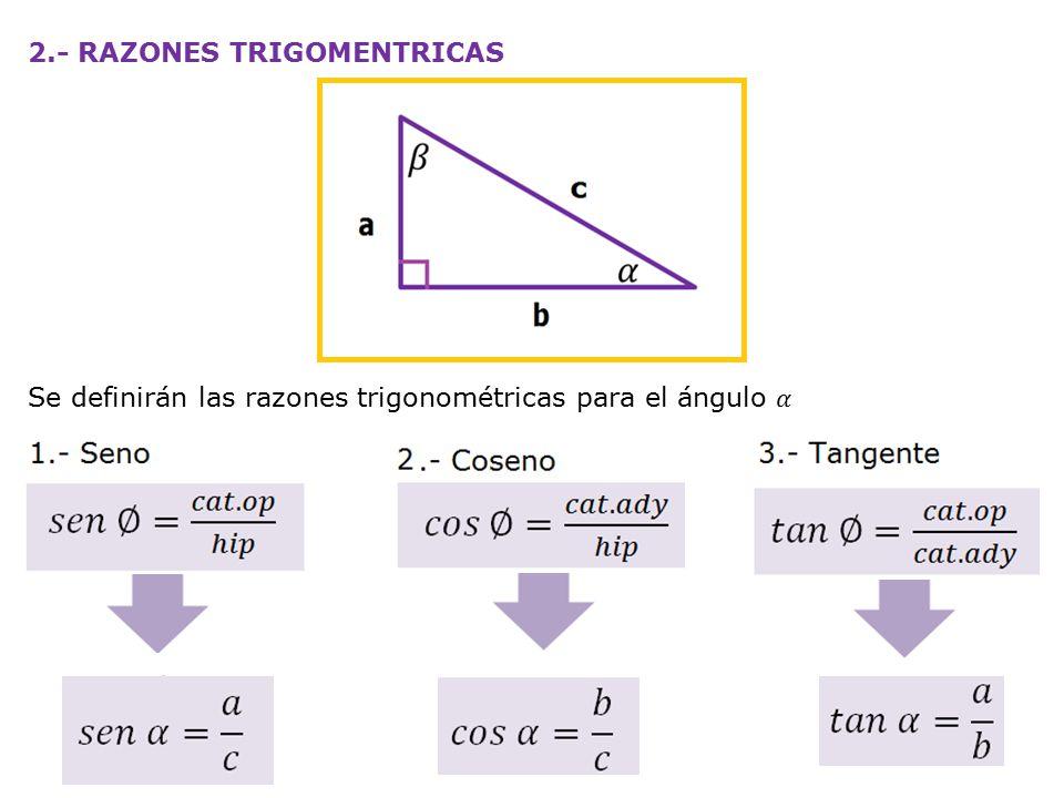 REPASO 1.- En el triangulo de la figura, calcular: a)sen α b)sen β c)cos α d)cos β e)el lado que falta f)tan α g)tan β h)α i)β 2.- Del ejercicio anterior, calcule las mismas incógnitas, si los valores de los catetos son: a)10 y 15 cm b)12 y 18 cm c)2 y 4 cm d)9 y 13 cm