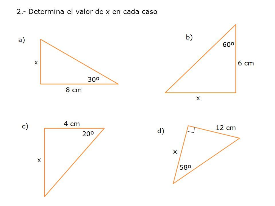 2.- Determina el valor de x en cada caso