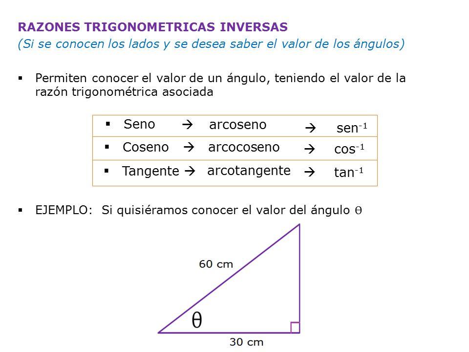 Por ejemplo: sabemos que cos θ = 0,5 SHIFT  cos -1 0,5 =60º
