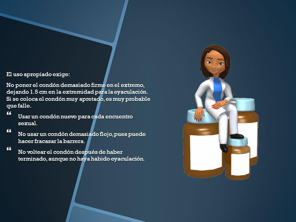 El uso apropiado exige: No poner el condón demasiado firme en el extremo, dejando 1.5 cm en la extremidad para la eyaculación.