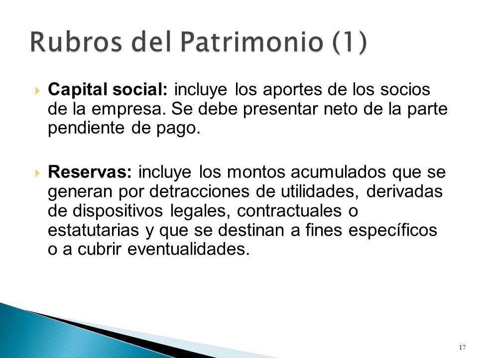  Capital social: incluye los aportes de los socios de la empresa.