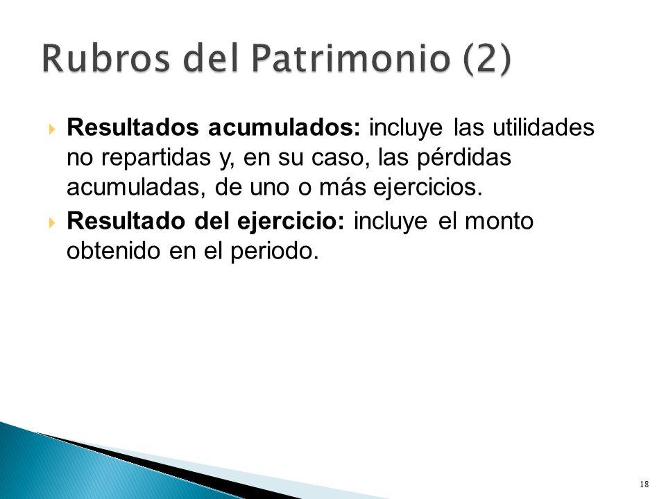  Resultados acumulados: incluye las utilidades no repartidas y, en su caso, las pérdidas acumuladas, de uno o más ejercicios.