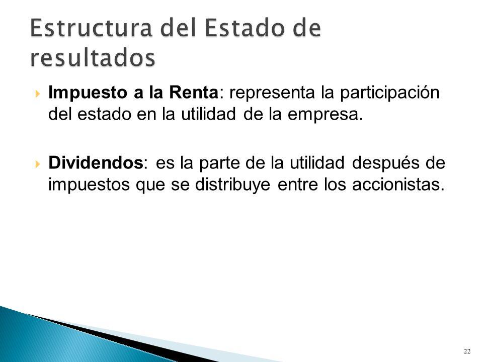  Impuesto a la Renta: representa la participación del estado en la utilidad de la empresa.