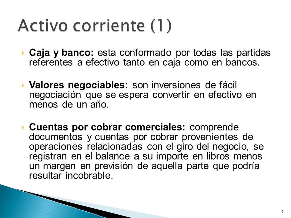  Caja y banco: esta conformado por todas las partidas referentes a efectivo tanto en caja como en bancos.
