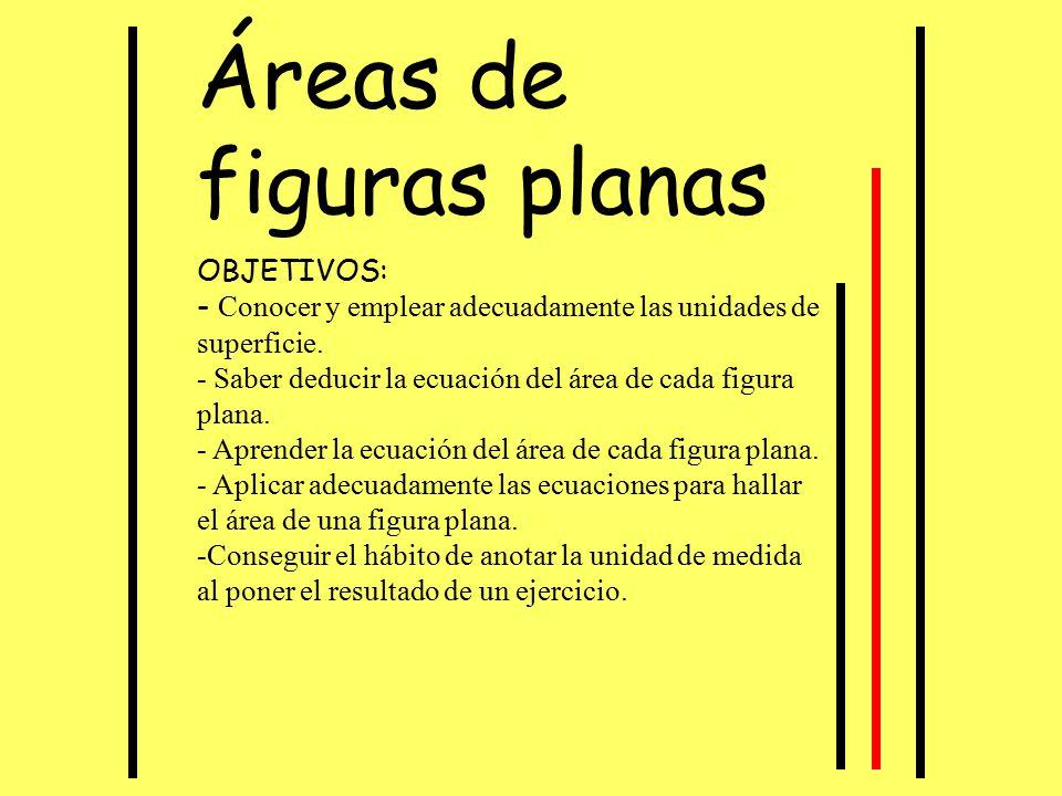 Áreas de figuras planas OBJETIVOS: - Conocer y emplear adecuadamente las unidades de superficie. - Saber deducir la ecuación del área de cada figura p