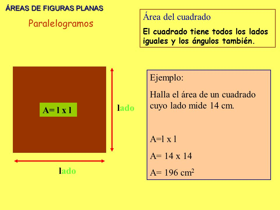 ÁREAS DE FIGURAS PLANAS ÁREAS DE FIGURAS PLANAS lado A= l x l Área del cuadrado El cuadrado tiene todos los lados iguales y los ángulos también. Ejemp