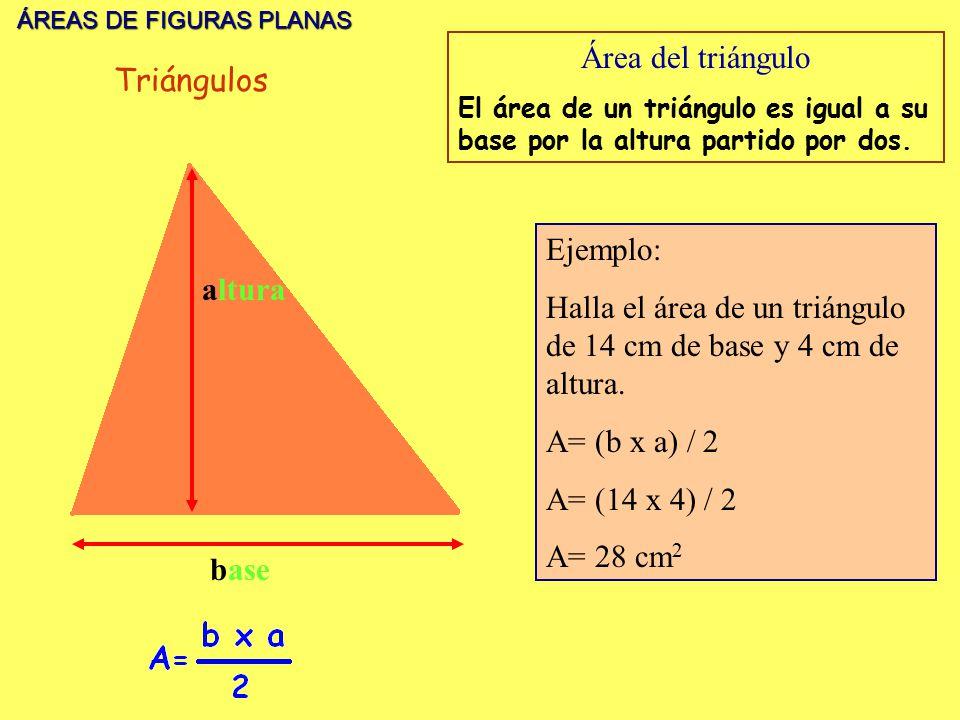 ÁREAS DE FIGURAS PLANAS ÁREAS DE FIGURAS PLANAS base altura Área del triángulo El área de un triángulo es igual a su base por la altura partido por do