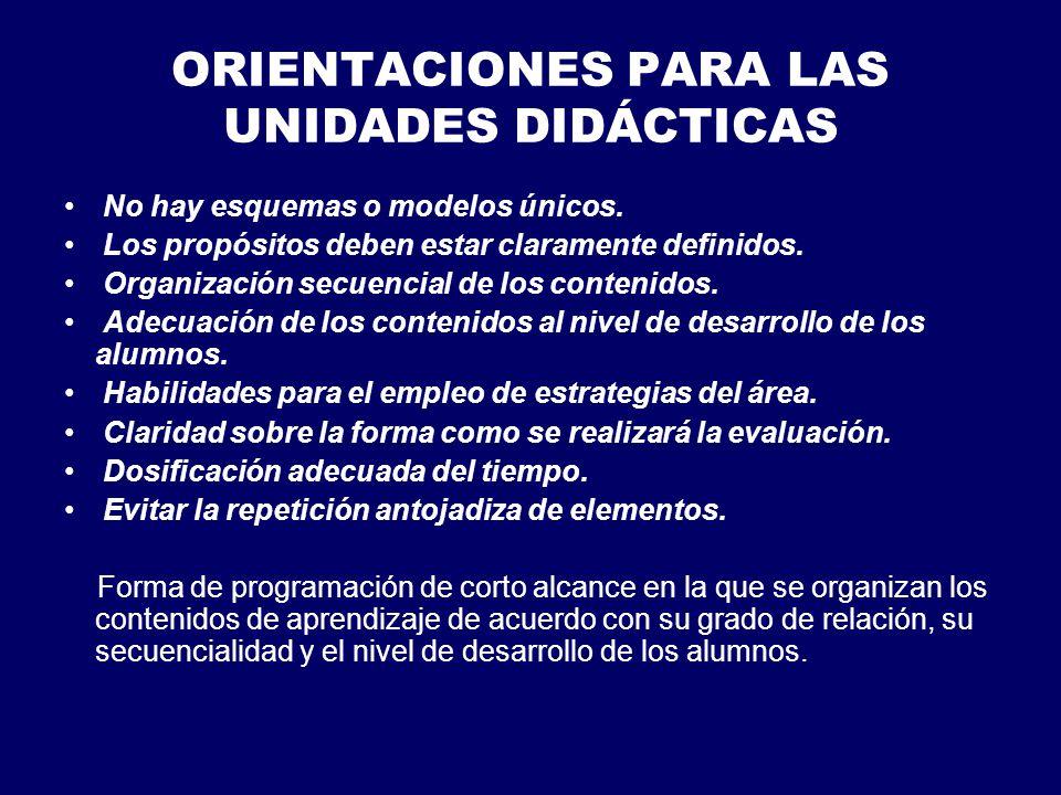 ORIENTACIONES PARA LAS UNIDADES DIDÁCTICAS No hay esquemas o modelos únicos.