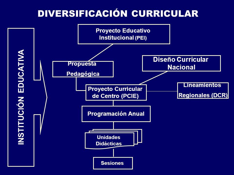DIVERSIFICACIÓN CURRICULAR Programación Anual Proyecto Curricular de Centro (PCIE) Propuesta Pedagógica Proyecto Educativo Institucional (PEI) INSTITUCIÓN EDUCATIVA Diseño Curricular Nacional Unidades Didácticas Sesiones Lineamientos Regionales (DCR)