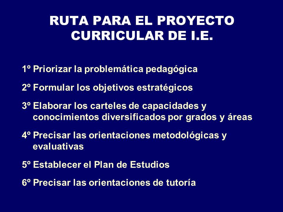 RUTA PARA EL PROYECTO CURRICULAR DE I.E.