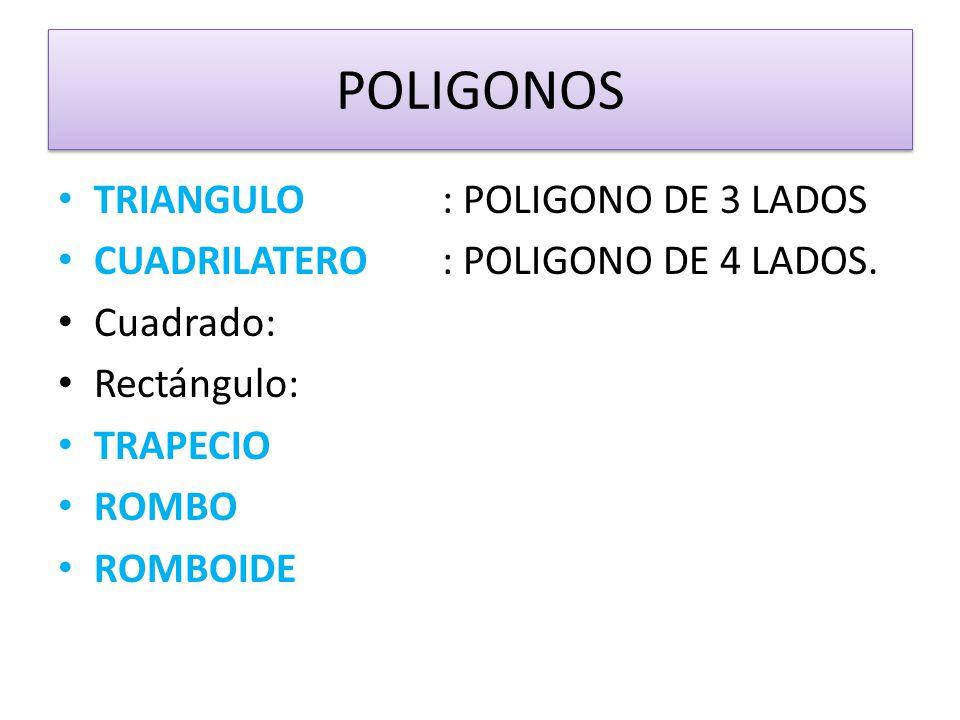 POLIGONOS TRIANGULO: POLIGONO DE 3 LADOS CUADRILATERO: POLIGONO DE 4 LADOS.