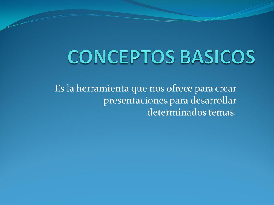 Es la herramienta que nos ofrece para crear presentaciones para desarrollar determinados temas.