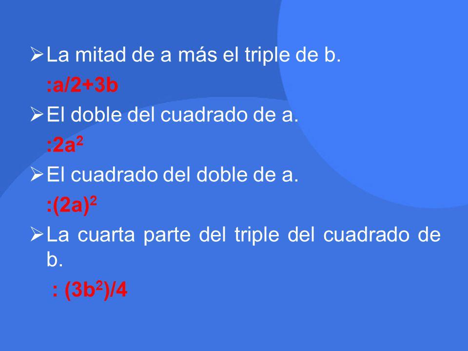  La mitad de a más el triple de b.:a/2+3b  El doble del cuadrado de a.
