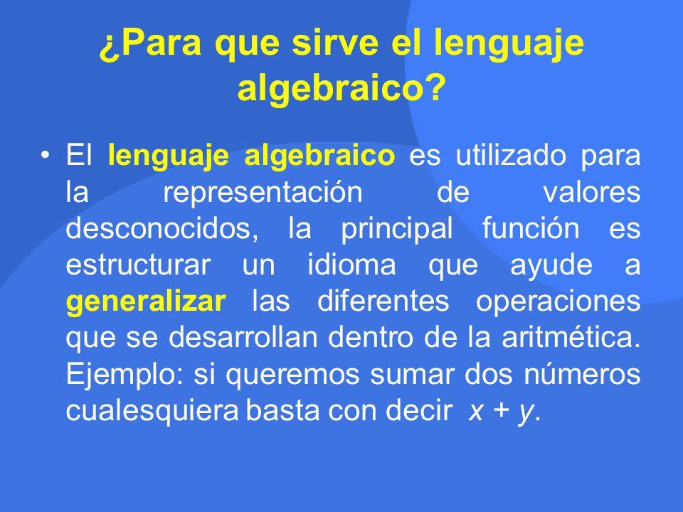 ¿Para que sirve el lenguaje algebraico.