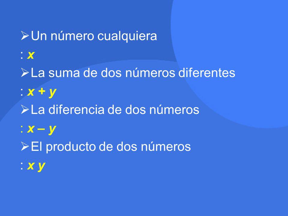  Un número cualquiera : x: x  La suma de dos números diferentes : x + y  La diferencia de dos números : x – y  El producto de dos números : x y