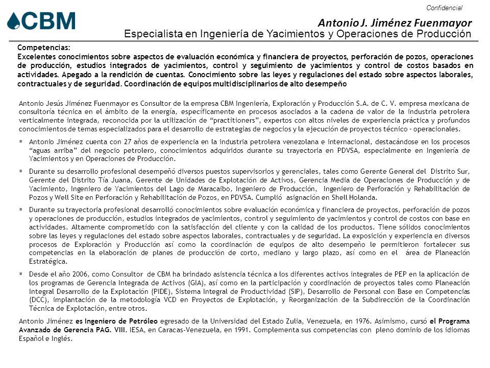 Confidencial Antonio J. Jiménez Fuenmayor Especialista en Ingeniería ...