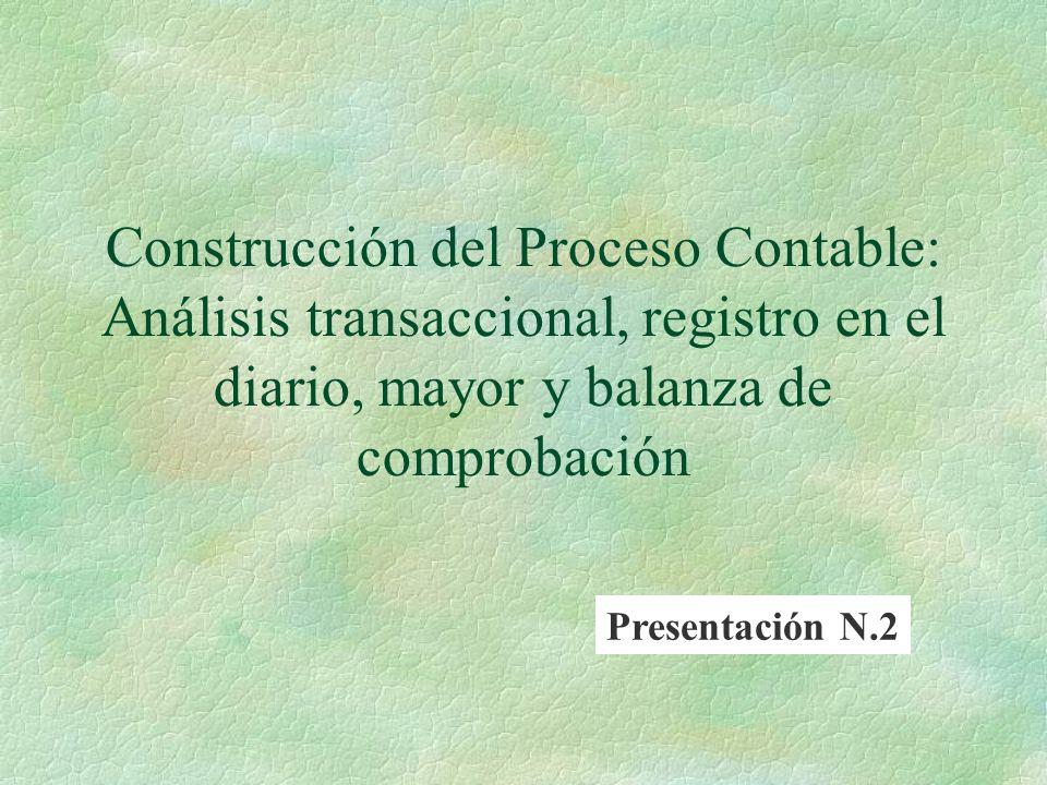 Construcción del Proceso Contable: Análisis transaccional, registro en el diario, mayor y balanza de comprobación Presentación N.2