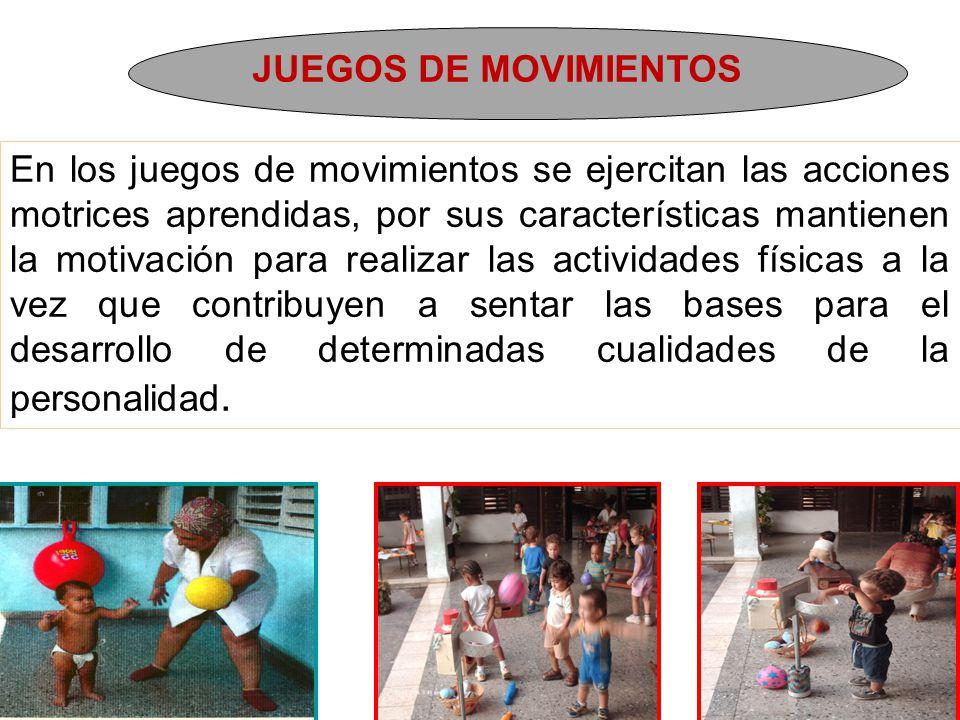 JUEGOS DE MOVIMIENTOS En los juegos de movimientos se ejercitan las acciones motrices aprendidas, por sus características mantienen la motivación para realizar las actividades físicas a la vez que contribuyen a sentar las bases para el desarrollo de determinadas cualidades de la personalidad.