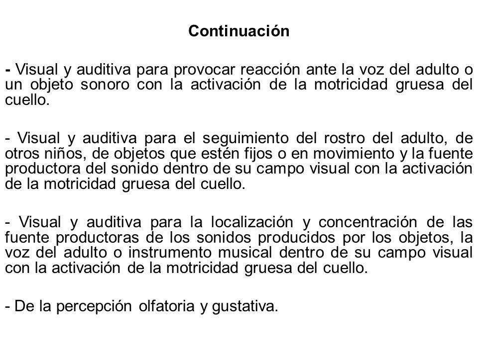 Continuación - Visual y auditiva para provocar reacción ante la voz del adulto o un objeto sonoro con la activación de la motricidad gruesa del cuello.