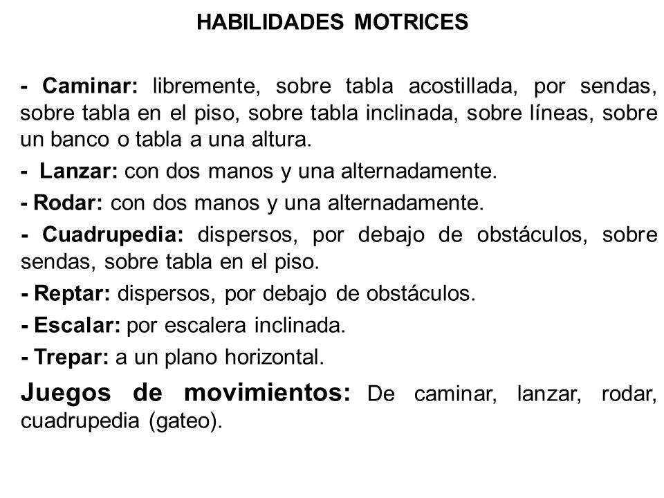 HABILIDADES MOTRICES - Caminar: libremente, sobre tabla acostillada, por sendas, sobre tabla en el piso, sobre tabla inclinada, sobre líneas, sobre un banco o tabla a una altura.