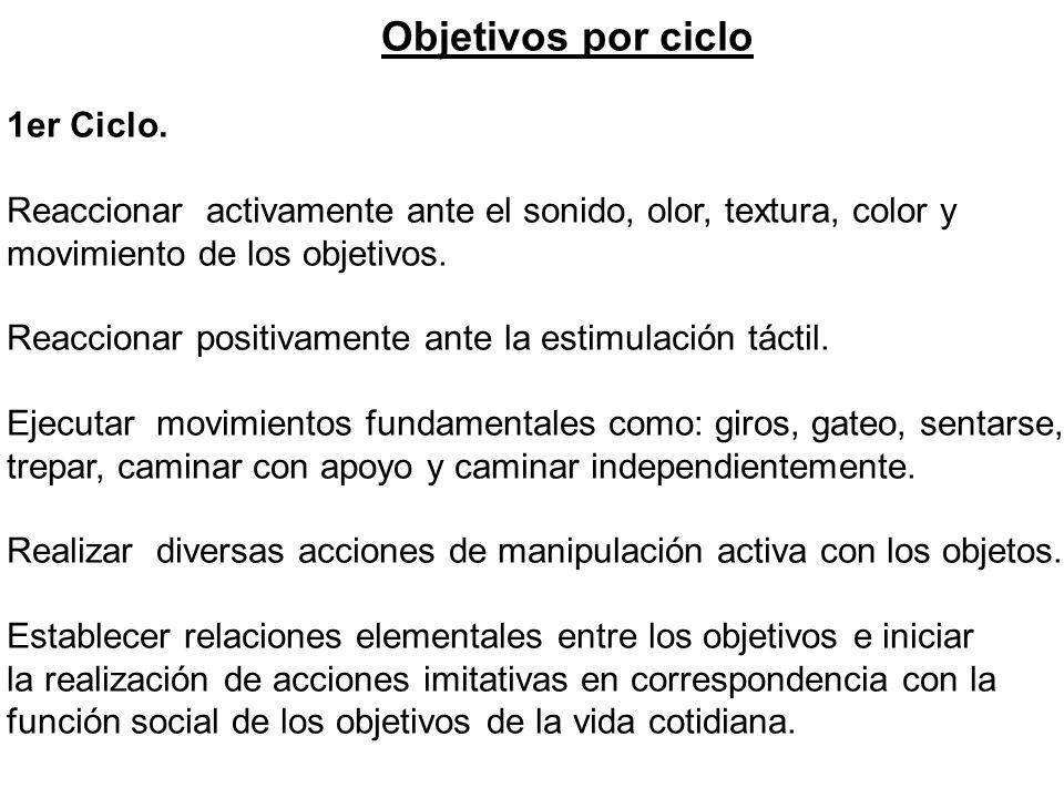 Objetivos por ciclo 1er Ciclo. Reaccionar activamente ante el sonido, olor, textura, color y movimiento de los objetivos. Reaccionar positivamente ant