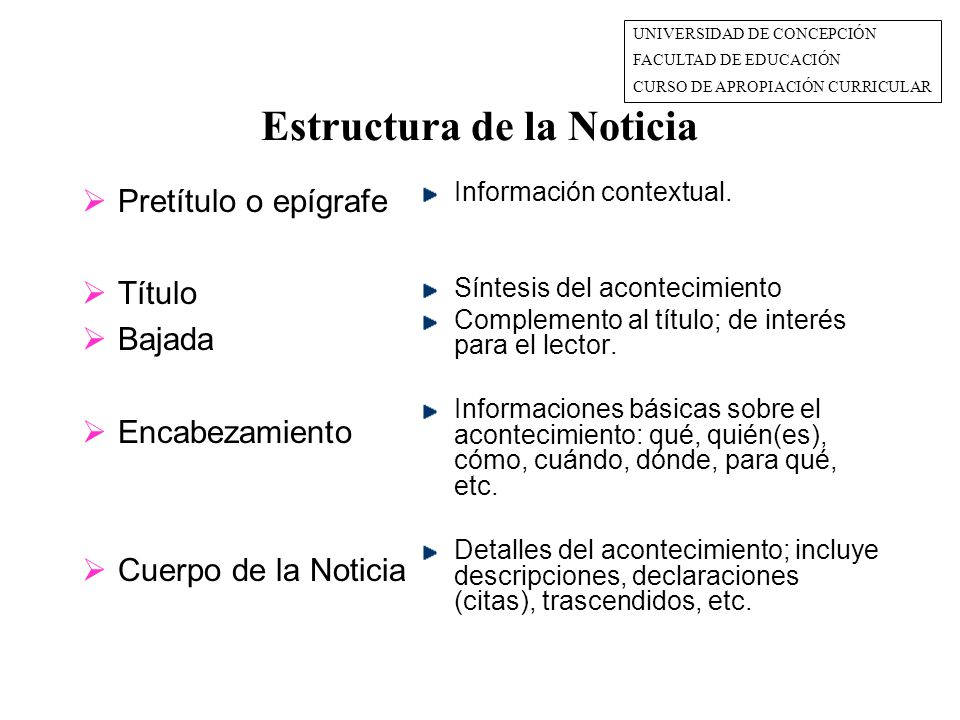 Estructura de la Noticia  Pretítulo o epígrafe  Título  Bajada  Encabezamiento  Cuerpo de la Noticia Información contextual.