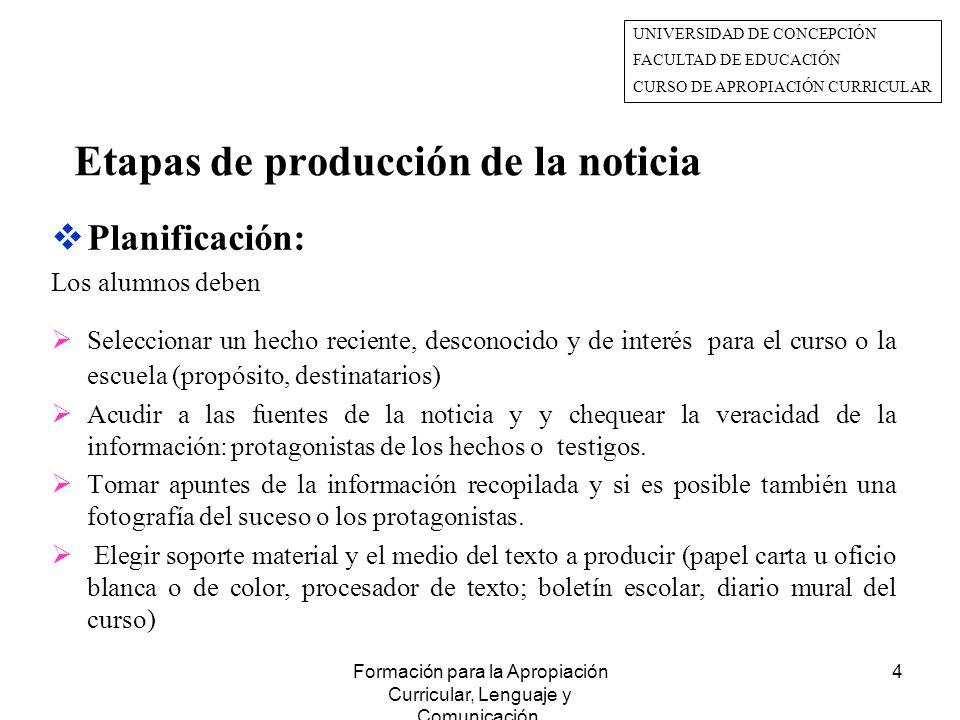 Formación para la Apropiación Curricular, Lenguaje y Comunicación.