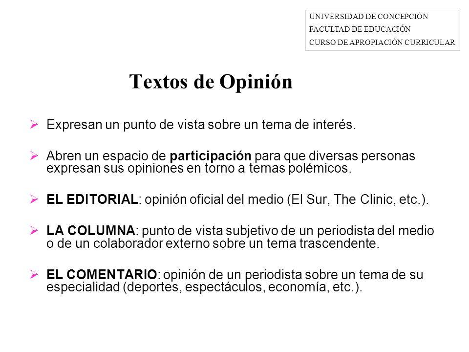 Textos de Opinión  Expresan un punto de vista sobre un tema de interés.