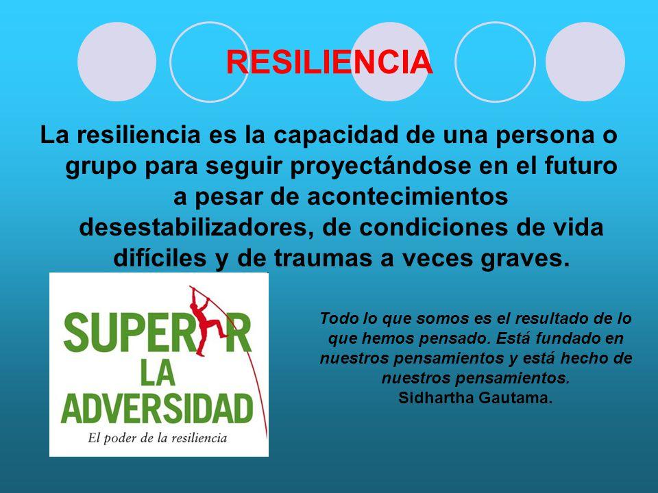 RESILIENCIA La resiliencia es la capacidad de una persona o grupo para seguir proyectándose en el futuro a pesar de acontecimientos desestabilizadores, de condiciones de vida difíciles y de traumas a veces graves.