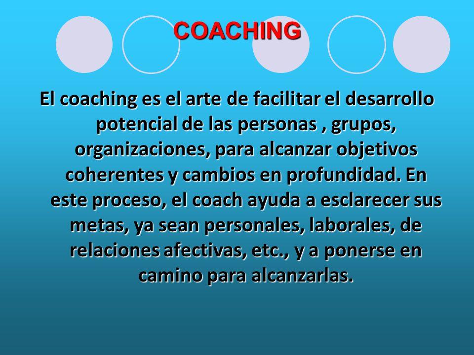 COACHING El coaching es el arte de facilitar el desarrollo potencial de las personas, grupos, organizaciones, para alcanzar objetivos coherentes y cambios en profundidad.