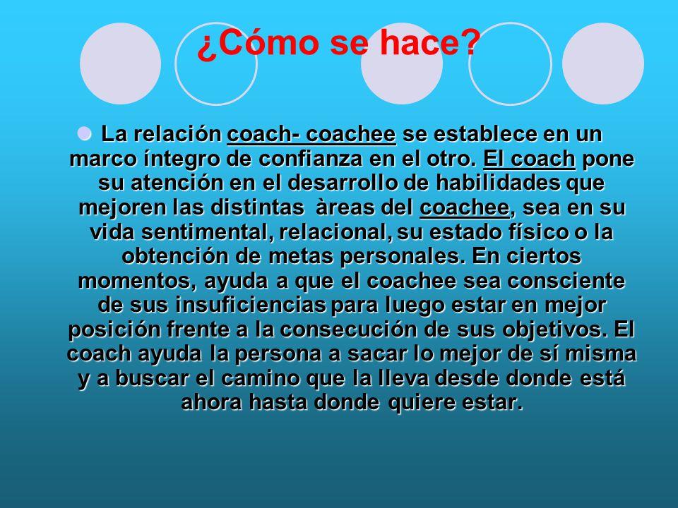 ¿Cómo se hace.La relación coach- coachee se establece en un marco íntegro de confianza en el otro.