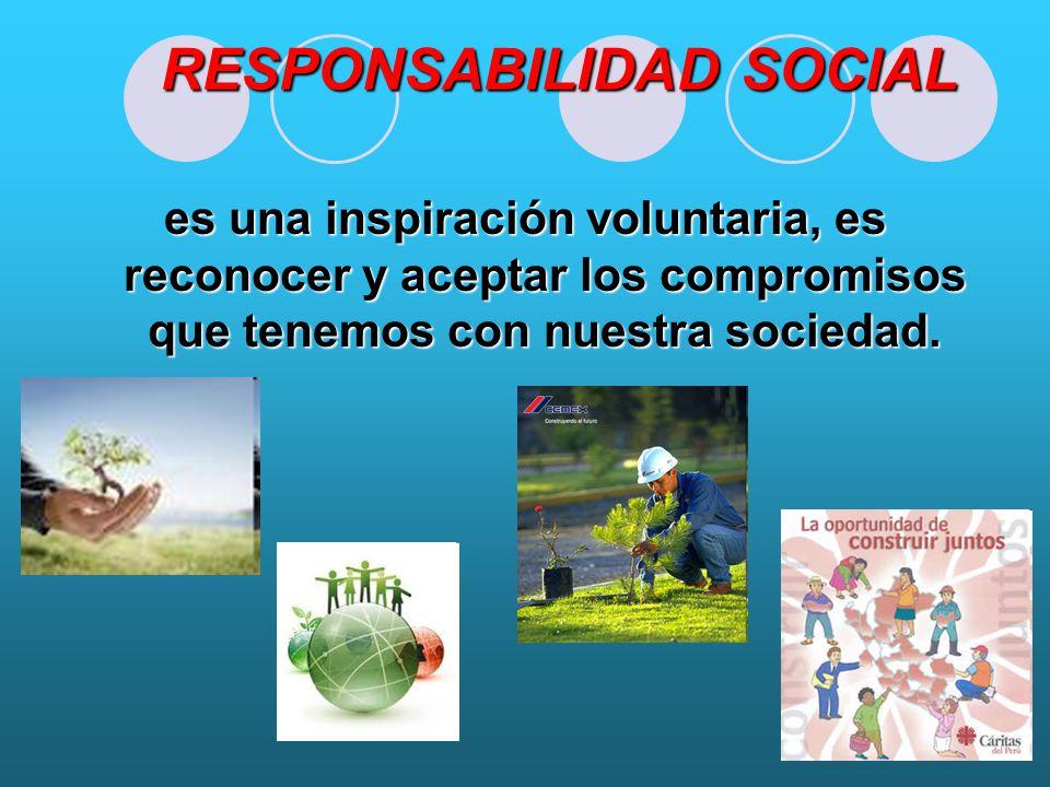 RESPONSABILIDAD SOCIAL es una inspiración voluntaria, es reconocer y aceptar los compromisos que tenemos con nuestra sociedad.