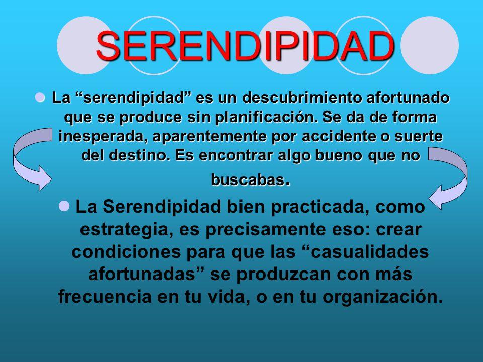 SERENDIPIDAD La serendipidad es un descubrimiento afortunado que se produce sin planificación.